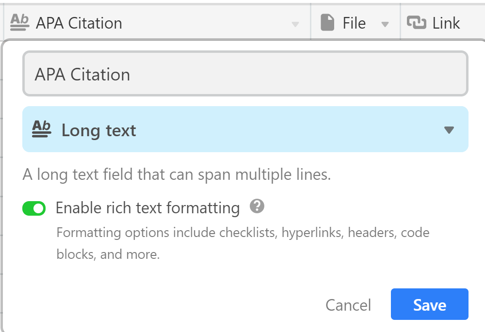 airtable reference library howto guide tutorial new field enable rich text formatting
